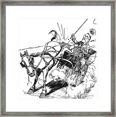 Cartoon: Fdr & Congress Framed Print by Granger
