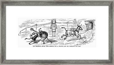 Cartoon: Telephone, 1886 Framed Print by Granger