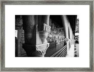 carved ornate pillar in the cloister of the Holy Royal and Stavropegiac Monastery kykkos troodos Framed Print