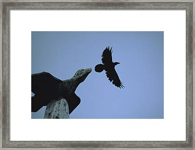 Carved Raven Tops A Totem Pole Framed Print by Michael Melford