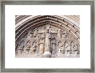 Carved Stone Biblical Mural Above Catholic Cathedral Doorway  Framed Print by Gary Whitton