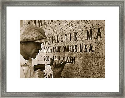 Carving The Name Of Jesse Owens Into The Champions Plinth At The 1936 Summer Olympics In Berlin Framed Print