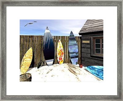 Framed Print featuring the digital art Casa Del Surf by John Pangia