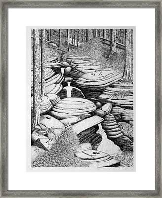 Cascade In Boulders Framed Print by Daniel Reed