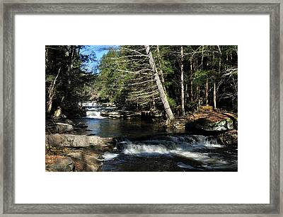 Framed Print featuring the photograph Cascade In The Catskills by Diane Lent