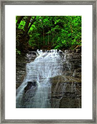 Cascading Falls Framed Print by Frozen in Time Fine Art Photography