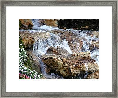 Cascading Water Framed Print by Barbara Middleton