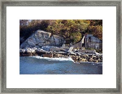 Framed Print featuring the photograph Casco Bay Fort Area Scene by Maureen E Ritter