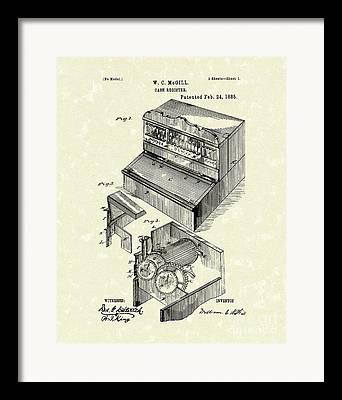 Vintage Cash Register Framed Prints