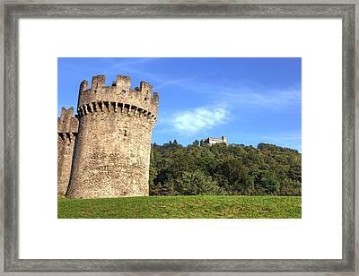 Castello Montebello And Sasso Corbaro In Bellinzona Framed Print by Joana Kruse