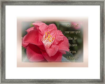 Casting All Your Care Framed Print