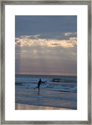 Casting Into The Surf Framed Print by Bill Cannon