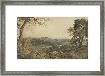 Castle Above A River - Woodcutters In The Foreground Framed Print
