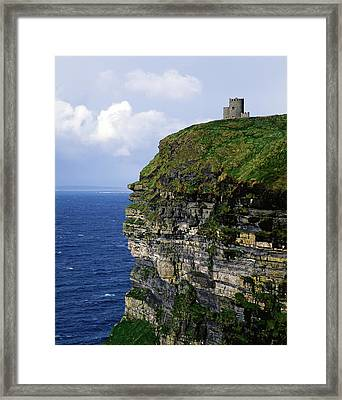 Castle On A Cliff, Obriens Tower Framed Print by The Irish Image Collection