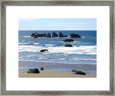 Cat And Kittens Rocks Framed Print by Will Borden
