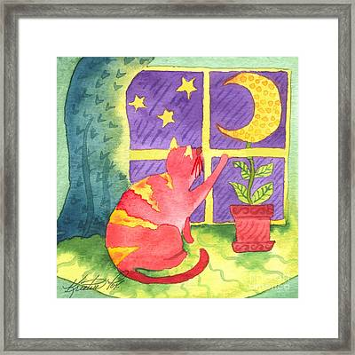 Cat And Moon Framed Print by Kristen Fox