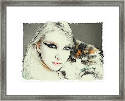 Cat Cuddles 2 Framed Print