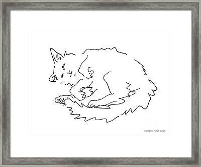 Cat-drawings-black-white-1 Framed Print by Gordon Punt