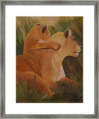 Framed Print featuring the painting Cat Family by Christy Saunders Church