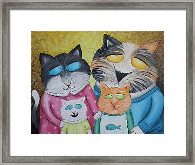 Cat Family Portrait Framed Print by Jennifer Alvarez