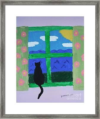 Cat In Window Framed Print by Jeannie Atwater Jordan Allen