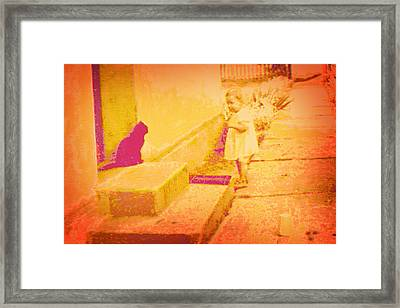 Cat Watching Framed Print by Li   van Saathoff