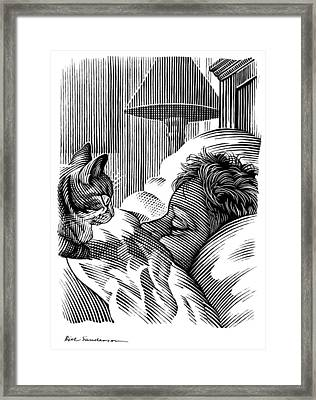 Cat Watching Sleeping Man, Artwork Framed Print by Bill Sanderson
