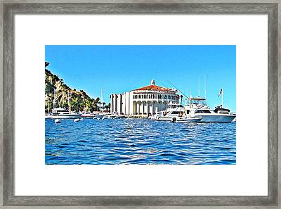 Catalina Casino View From A Boat Framed Print by Lauren Serene