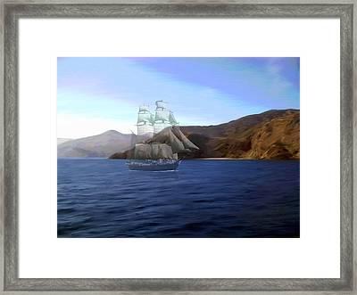 Catalina Shoreline Ghost Ship Framed Print by Snake Jagger