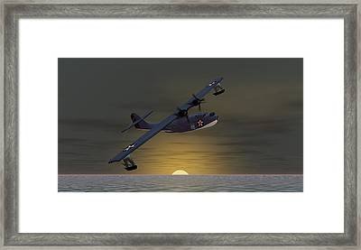 Framed Print featuring the digital art Catalina Sunset by Walter Colvin