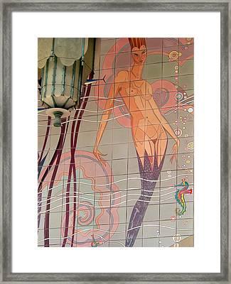 Catalina Tile Mermaid And Lamp Framed Print