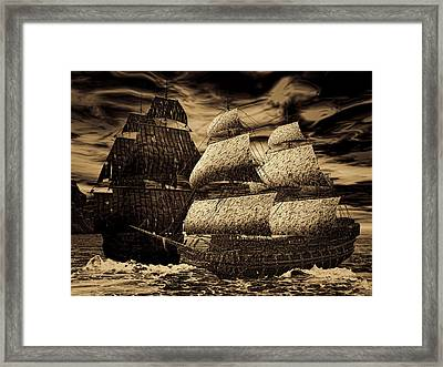 Catastrophic Collision-sepia Framed Print by Lourry Legarde