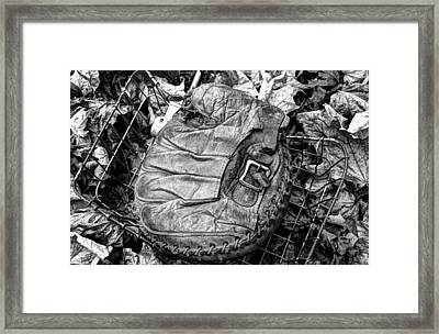 Catcher's Mitt And Bike Basket Framed Print by Janice Adomeit