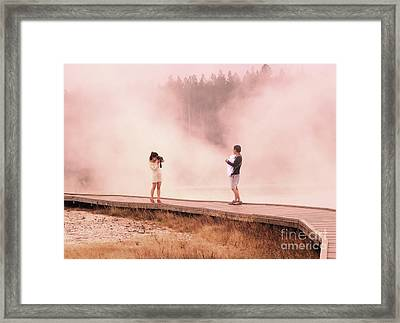 Catching The Steam In Yellowstone Framed Print by Ann Johndro-Collins