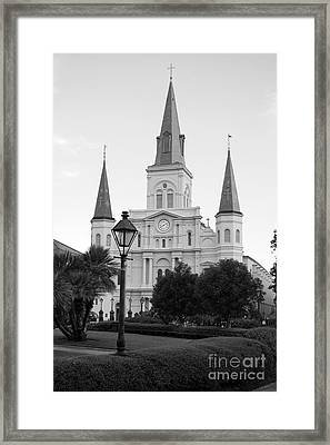 Cathedral And Lampost On Jackson Square In The French Quarter New Orleans Black And White Framed Print