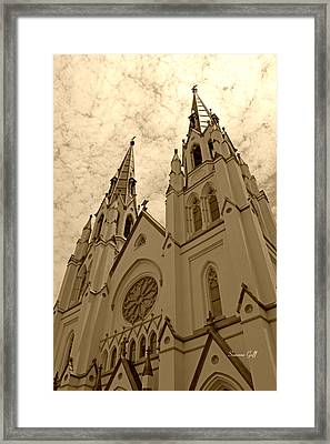Cathedral Of St John The Baptist In Sepia Framed Print by Suzanne Gaff