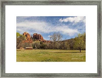 Cathedral Rock From The Park Framed Print by Darcy Michaelchuk