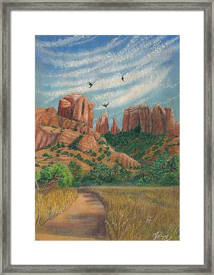 Cathedral Rock In Sedona Framed Print by Marcia  Perry