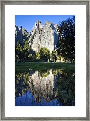 Cathedral Rocks Are Reflected In A Pool Of Water In Yosemite National Park, Ca Framed Print by Rachid Dahnoun