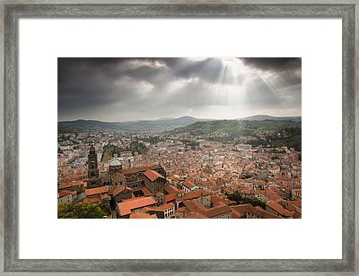 Cathedrale Notre-dame And Town Framed Print by Walter Bibikow