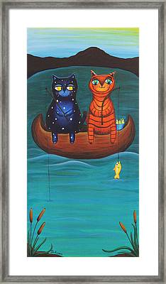 Cats Fish Framed Print by Jennifer Alvarez