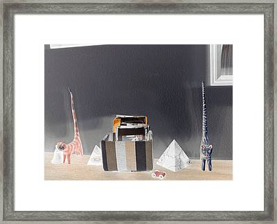 Framed Print featuring the photograph Cats On A Wooden Surface by Louis Nugent
