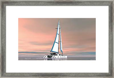 Framed Print featuring the painting Catsailing Sunset by Walter Colvin
