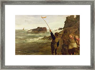 Caught By The Tide Framed Print by James Clarke Hook