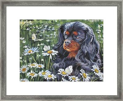 Cavalier King Charles In The Wildflowers Framed Print by Lee Ann Shepard