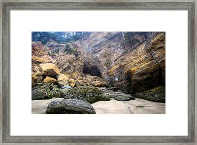 Framed Print featuring the photograph Cave At The Beach by Katie Wing Vigil