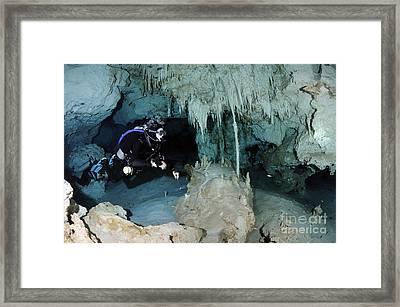 Cavern Diver In Dos Ojos Cenote System Framed Print