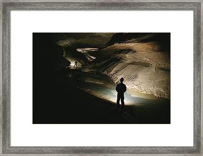 Cavers Stand In The New Discover Framed Print