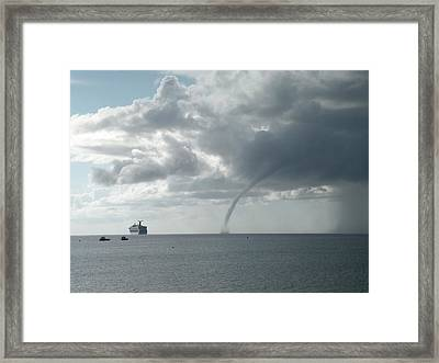 Cayman Water Spout Framed Print by Peter Panagos