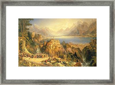 Celebrating The Grape Harvest Lake Orta North Italy Framed Print by John Bell